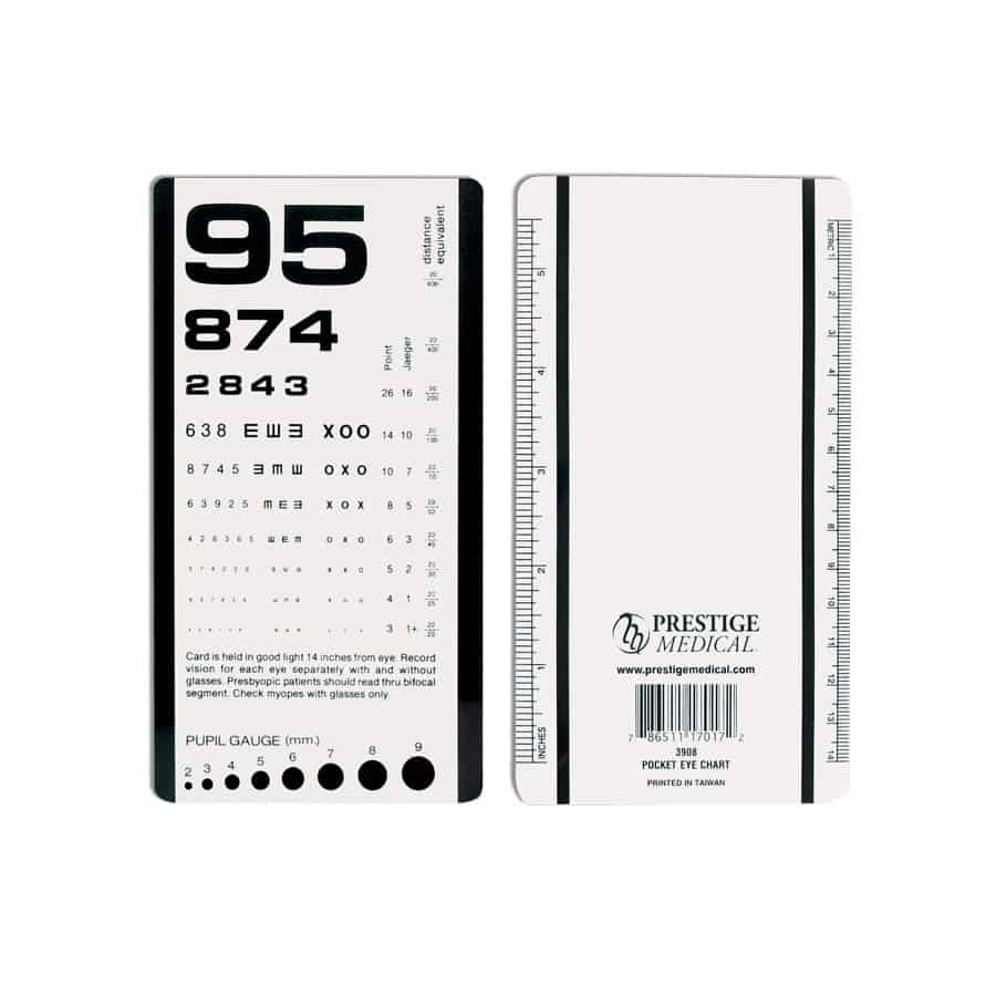 3908, Pocket Eye Chart, Eye Chart, Vision, Measuring Tools, Prestige Medical