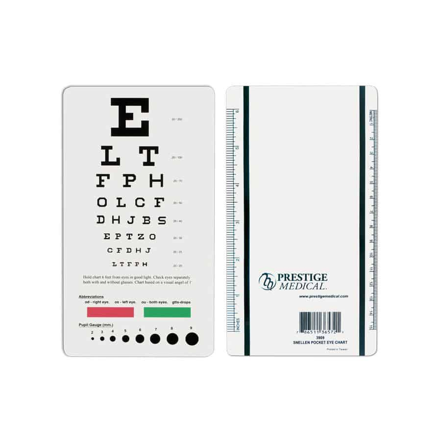 3909, Snellen Pocket Eye Chart, Eye Chart, Vision, Measuring Tools, Prestige Medical