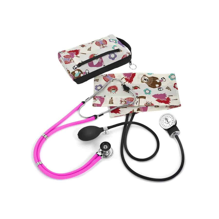 """Aneroid Sphygmomanometer / Sprague-Rappaport Kit • Our most popular aneroid sphygmomanometer matched with the Sprague-Rappaport stethoscope • Includes a 6"""" x 9"""" color-matched nylon carry case • 5-year aneroid warranty plus a lifetime gauge calibration warranty • Lifetime warranty on stethoscope"""