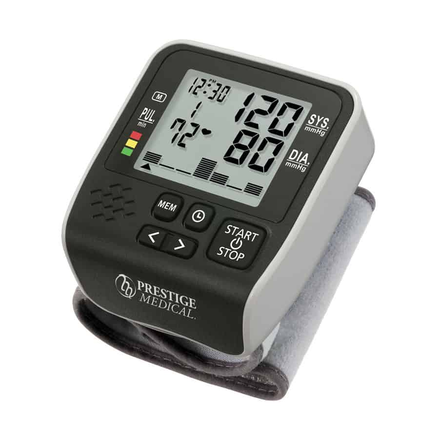 Wristmate™ Premium Digital Blood Pressure Monitor • Fully automatic digital blood pressure and pulse rate monitor that measures from the wrist • Displays measurements in bar graph form for easy evaluation • Features an irregular heartbeat detector • Recalls up to 99 prior readings • World Health Organization indicator for blood pressure classification • Two-year warranty