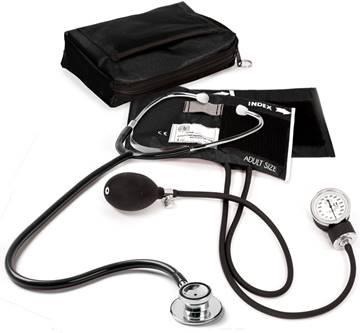 Starter Pack:  Dualhead Stethoscope Aneroid Sphygmomanometer Nylon Carry Case 24hr Fob Watch Lister Bandage Scissor Replaceable Battery Penlight